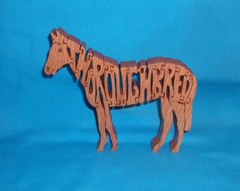 Thoroughbred Horse Scroll Saw Wooden Puzzle
