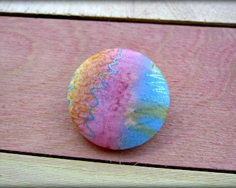 Covered Button Brooch Pin in Pink Blue Yellow Hand Painted Silk