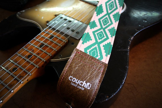 Southwestern Navajo Print Native American Guitar Strap- salmon, turquoise, vegan buckskin