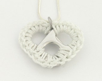 White pop tab heart necklace - crochet heart, 16 - 18 inch silver snake chain necklace - pop tab, pull tab, ring tab, ring pull