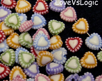 120 Petite Heart Plastic Beads Charms. Mix Colors