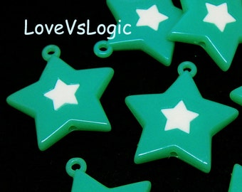 6 Huge Acrylic Star Charms. Aqua With White Star.