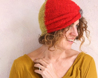 Color Blocked Turban hat-cowl-headband-ear warmer in red/black/kiwi knit with hand blended silk and kid mohair
