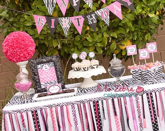 Zebra Ribbon Garland, Rockstar Party, Diva Party, Sweet 16, Spa Party, Zebra Birthday