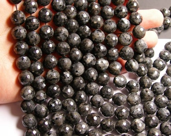 Larvikite - 12mm faceted round beads - full strand - 33 beads - AA Quality - black labradorite - RFG743
