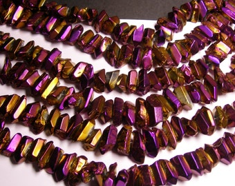 Quartz mystic aura Purple golden crystal points chunk -  middle drilled - Full strand - 36 pcs - PQM6