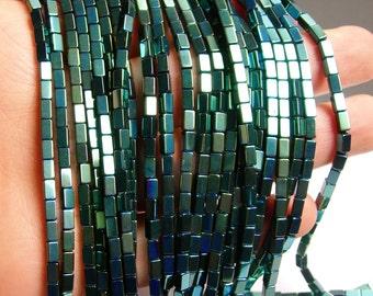 Hematite aqua green - 5mm rectangle beads -  full strand - 75 beads - AA quality  - 5x3 - PHG60