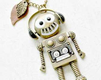 Robot Necklace, Robot with Headphones Necklace