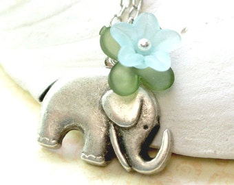 Elephant Necklace,Elephant with Blue Flower Necklace,The Lucky Elephant Necklace,Antiqued Silver Elephant Necklace,Cute Elephant Necklace