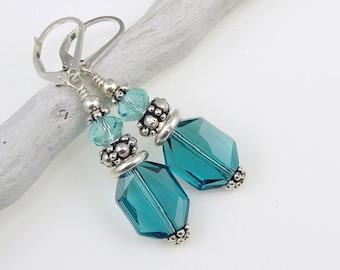 Ocean Jewelry - Teal Blue Earrings - Nautical Sterling Silver Leverback Earrings - Aquamarine Blue Green Beaded Jewelry - Sea Colors