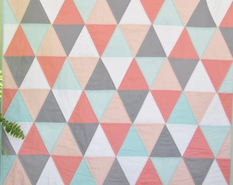 Modern Baby Girl Quilt, Peaches Baby Girl Quilt, Baby Girl Crib Quilt by Dreamy Vintage Sheets