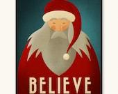 Santa Minimalist Poster • Art Print • Santa Claus Believe Christmas Poster