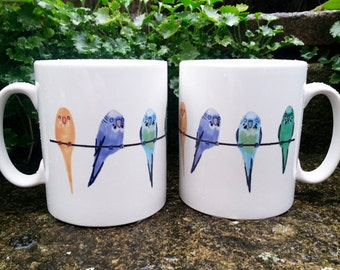 White Ceramic Budgies Blue Green Mug Budgerigar Yellow Lilac Birds Parrot Parrokeet Pets Cup
