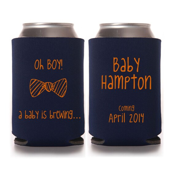 personalized oh boy a baby is brewing baby shower koozie favors