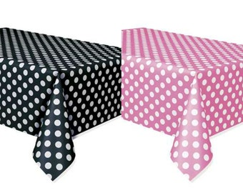 Set of 2 Minnie Mouse Polka Dots Table Covers Pink & Black 1st Birthday Mickey