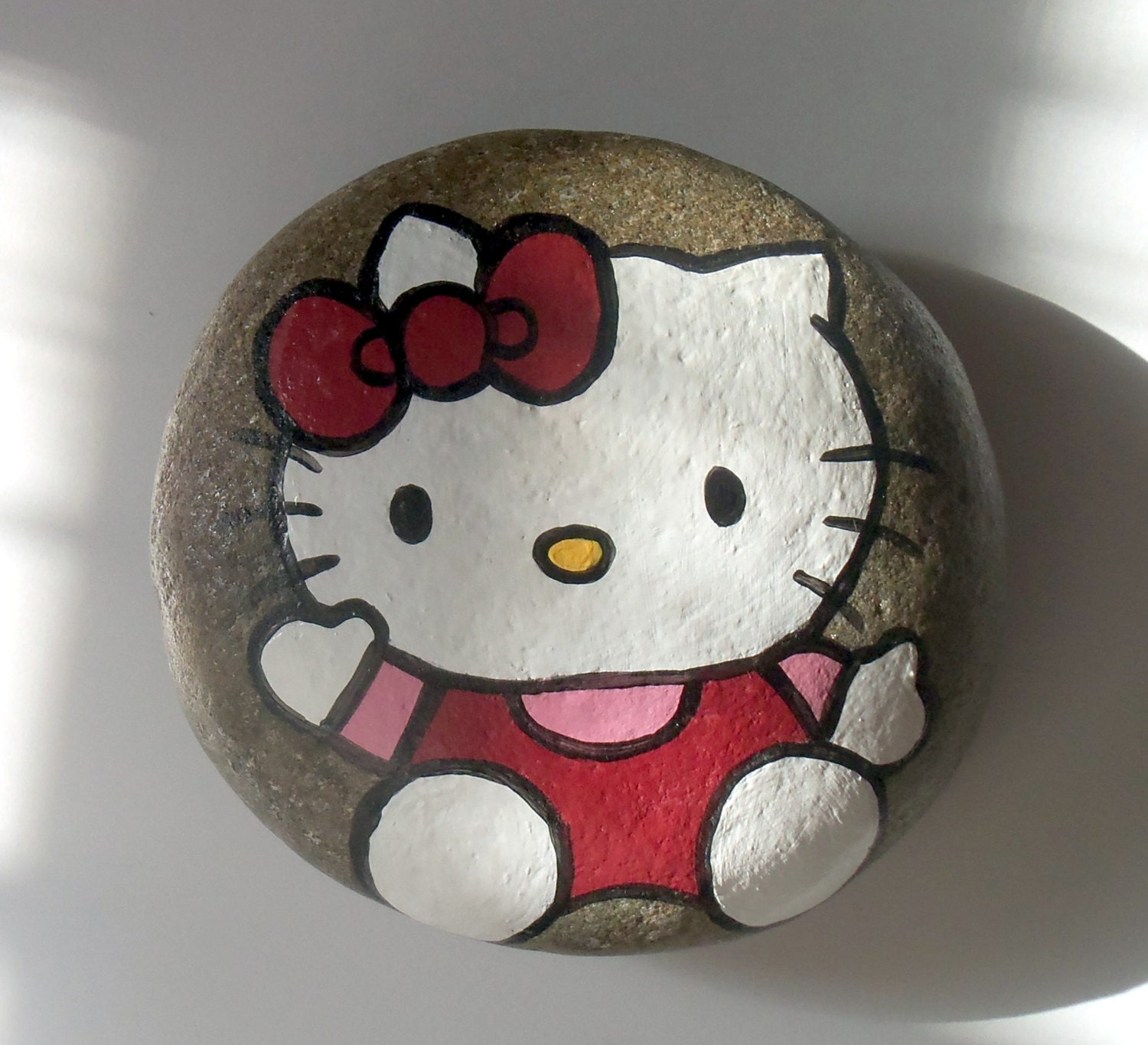 kitty painted art river rock