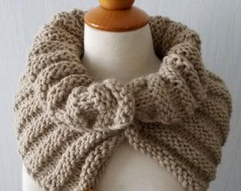 Chunky Cowl Light Brown Alpaca Wool Winter Accessory Men Women Unisex