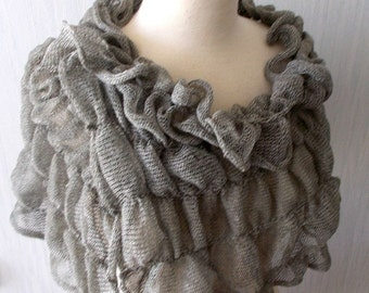 Linen Scarf Knit Shawl Wrap Flax Natural Summer Capelet in Khaki Grey