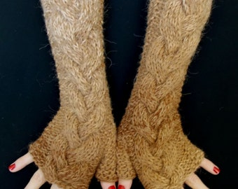 Brown Fingerless Gloves Cabled Warm Arm Warmers