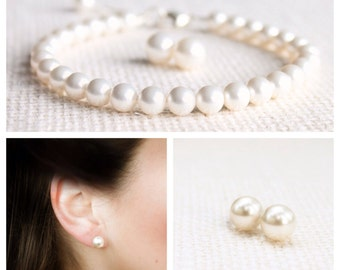Pearl Jewelry Set, bracelet and earrings, row of pearls, bridal, Wedding Set - Purity