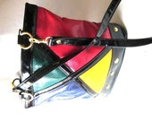 French vtg 90s MONDRIAN metal studs bucket bag - laminuinette