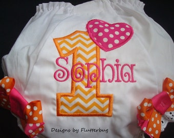 PERSONALIZED 1ST BIRTHDAY Diaper Cover Bloomers  -Orange and Pink Birthday-Custom Embroidered -Fancy Pants-Numeral one and heart