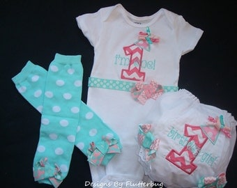 GIRLS 1ST BIRTHDAY Bodysuit, Bloomers Diaper Cover and Leg Warmers Set - Smash Cake Outfit -Chevron appliqued one in Light Pink and Aqua
