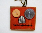 Halloween Primitive Rustic Pumpkin Magnet or Brooch, Tole Painted, Sold in a Set of Two, Orange Pumpkin Magnet, Orange Pumpkin Pin or Brooch