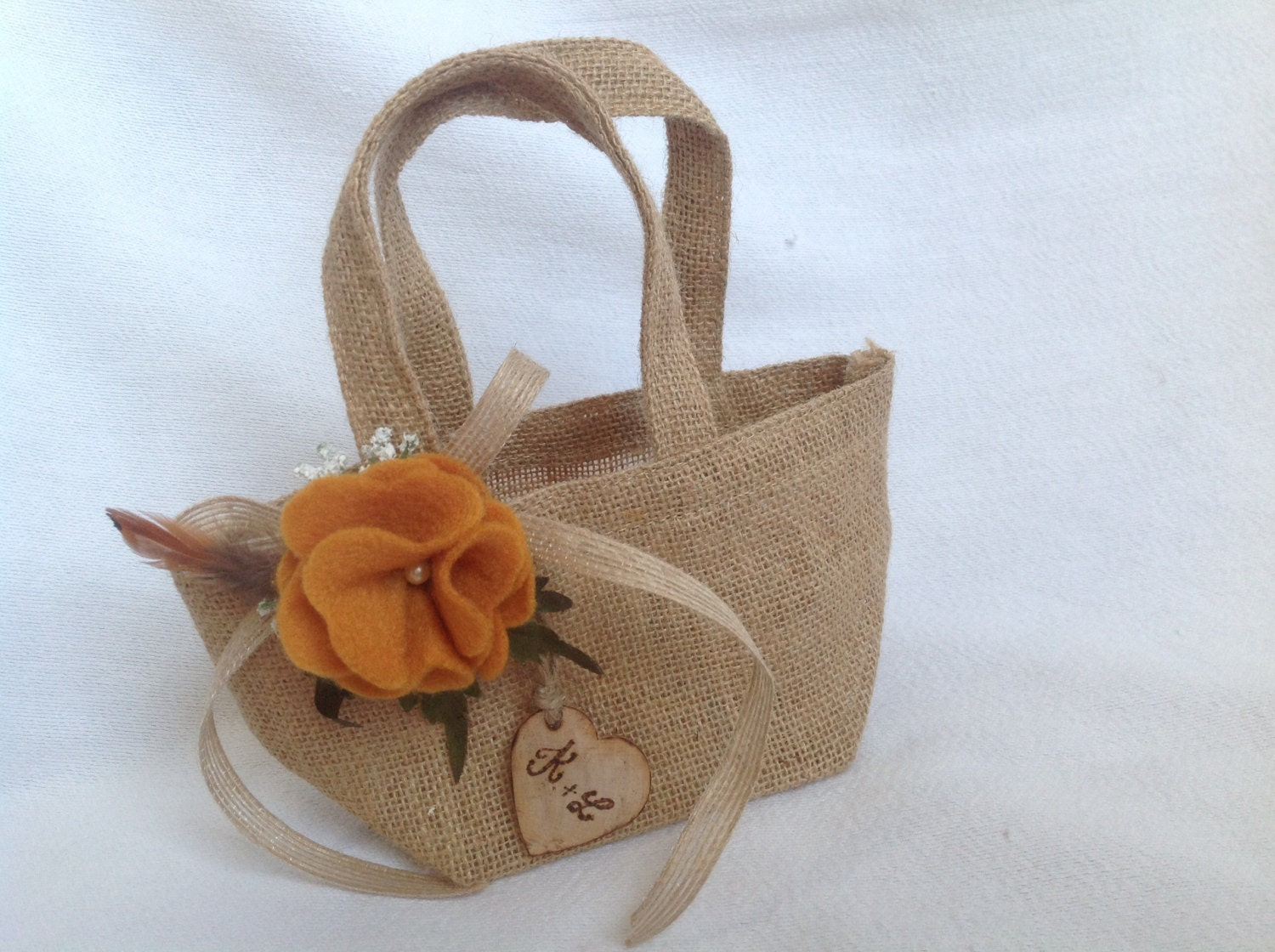 Flower Girl Baskets Burlap : Rustic burlap flower girl basket