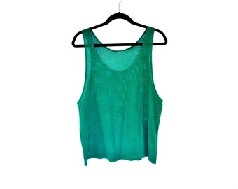 vINtaGe 9o'S CRoppeD meSH taNK iN Sea foaM meN'S meDiUm