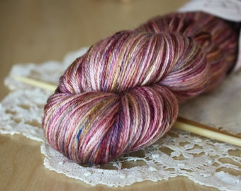 Hand Dyed Yarn / Fingering Weight / Violet Plum Grape Purple Blackberry Bramble / Silk Merino Wool