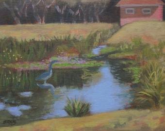 Original Plein Air Painting Pond and Heron