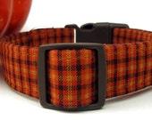 Pumpkin Plaid Dog Collar