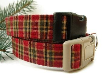 Cranberry Plaid Dog Collar