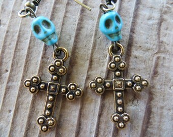 Gold Toned Dangling Cross and Howlite Turquoise Skull Earrings