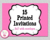 15 PRINTED INVITATIONS , 5x7 Invitations with Envelopes , SHIPS within 1-2 days by The Trendy Butterfly