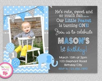 Boys Elephant Birthday Invitation , Elephant Birthday Party Invitation  Printable Boys or Girls