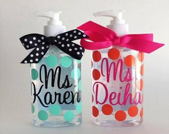 Personalized hand sanitizer  8 oz. polka dot chevron wedding gift teacher shower GIFT bow