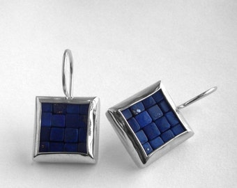 Mosaic Earrings - Lapis Lazuli Polished Silver Earrings - Square Earrings - Blue Gemstone Earrings - Mosaic Jewelry - French Wire Earrings