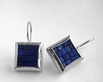 Mosaic Earrings - Lapis Lazuli & Polished Silver