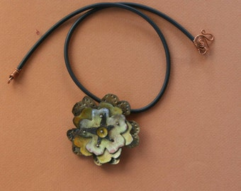 Playing in the Sun Enameled Flower Pendant