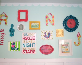 A girl without freckles is like a night without stars 12x18 Customizeable Sign  Choose Your Colors Girls Room Decor Gift Pink Gold Turquoise