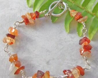 Fall Colored Jasper Chip & Sterling Silver Bracelet