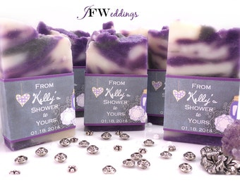 Vegan SOAP Favors ~ Bridal ~ Wedding ~ Scented in Lavender with Chalk Board Labels or Custom Designed ~ Handmade in 7 days