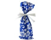 ON SALE -- Tropical Wine Bottle Bag Fabric Gift Bag in Royal Blue with White Flowers