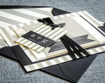 "Striped Wedding Invitation, Black and White, Modern Wedding Invitations, Simple Invites - ""Preppy Chic"" Flat Panel, No Layers, v1 - SAMPLE"