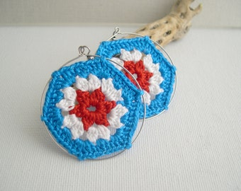 Big hoop earrings - Granny Hexagon Crochet Earrings - Blue White Orange earrings - Retro Fashion earrings - Vintage lace fashion - boho chic