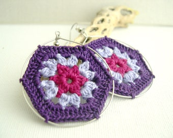 Boho Chic Granny Hexagon Crochet Earrings - Purple lavender fuchsia earrings - Retro Fashion colorful earrings - Spring Summer fashion