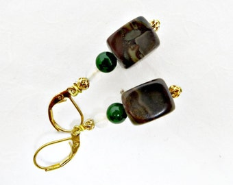 Bronze Stone, BC Jade, and White Shell Dangle Earrings