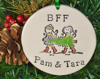 BFF personalized ceramic ornament, girls carrying  a Christmas tree, custom made to order, Christmas tree ornament